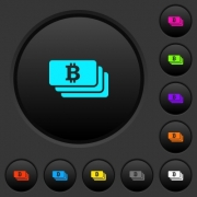 Bitcoin banknotes dark push buttons with vivid color icons on dark grey background - Bitcoin banknotes dark push buttons with color icons