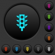 Traffic light dark push buttons with vivid color icons on dark grey background - Traffic light dark push buttons with color icons