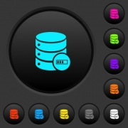 Database processing dark push buttons with vivid color icons on dark grey background - Database processing dark push buttons with color icons