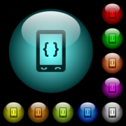 Mobile software development icons in color illuminated spherical glass buttons on black background. Can be used to black or dark templates - Mobile software development icons in color illuminated glass buttons
