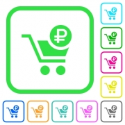 Checkout with Ruble cart vivid colored flat icons in curved borders on white background - Checkout with Ruble cart vivid colored flat icons