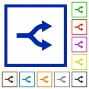 Split arrows flat color icons in square frames on white background - Split arrows flat framed icons