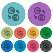 Euro new Shekel money exchange darker flat icons on color round background - Euro new Shekel money exchange color darker flat icons - Large thumbnail