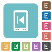 Mobile media previous white flat icons on color rounded square backgrounds - Mobile media previous rounded square flat icons