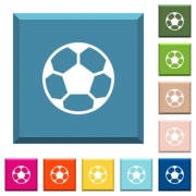 Soccer ball white icons on edged square buttons in various trendy colors - Soccer ball white icons on edged square buttons