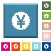 Yen sticker white icons on edged square buttons in various trendy colors - Yen sticker white icons on edged square buttons
