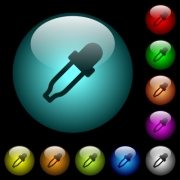 Color picker icons in color illuminated spherical glass buttons on black background. Can be used to black or dark templates - Color picker icons in color illuminated glass buttons