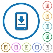 Mobile download flat color vector icons with shadows in round outlines on white background - Mobile download icons with shadows and outlines