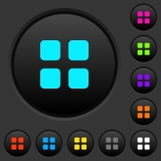 Large thumbnail view mode dark push buttons with vivid color icons on dark grey background - Large thumbnail view mode dark push buttons with color icons