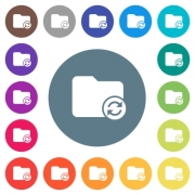 Refresh directory flat white icons on round color backgrounds. 17 background color variations are included. - Refresh directory flat white icons on round color backgrounds