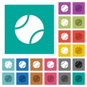 Tennis ball multi colored flat icons on plain square backgrounds. Included white and darker icon variations for hover or active effects. - Tennis ball square flat multi colored icons