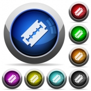 Razor blade icons in round glossy buttons with steel frames - Razor blade round glossy buttons