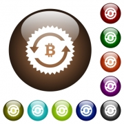 Bitcoin pay back guarantee sticker white icons on round color glass buttons - Bitcoin pay back guarantee sticker color glass buttons