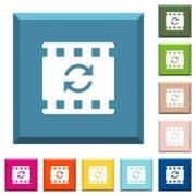 Restart movie white icons on edged square buttons in various trendy colors - Restart movie white icons on edged square buttons