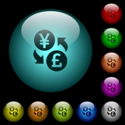 Yen Pound money exchange icons in color illuminated spherical glass buttons on black background. Can be used to black or dark templates - Yen Pound money exchange icons in color illuminated glass buttons