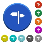 Signpost round color beveled buttons with smooth surfaces and flat white icons - Signpost beveled buttons