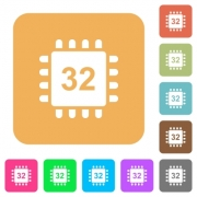 Microprocessor 32 bit architecture flat icons on rounded square vivid color backgrounds. - Microprocessor 32 bit architecture rounded square flat icons