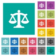 Scale of law multi colored flat icons on plain square backgrounds. Included white and darker icon variations for hover or active effects. - Scale of law square flat multi colored icons