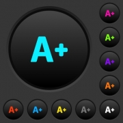 Increase font size dark push buttons with vivid color icons on dark grey background - Increase font size dark push buttons with color icons