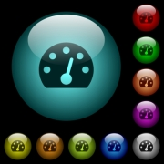 Dashboard icons in color illuminated spherical glass buttons on black background. Can be used to black or dark templates - Dashboard icons in color illuminated glass buttons