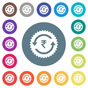 Rupee pay back guarantee sticker flat white icons on round color backgrounds. 17 background color variations are included. - Rupee pay back guarantee sticker flat white icons on round color backgrounds