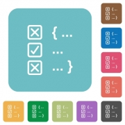 Source code checking white flat icons on color rounded square backgrounds - Source code checking rounded square flat icons