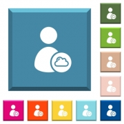 Cloud user account management white icons on edged square buttons in various trendy colors - Cloud user account management white icons on edged square buttons