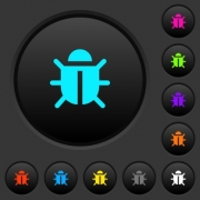 Computer bug dark push buttons with vivid color icons on dark grey background - Computer bug dark push buttons with color icons