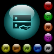 Shared drive icons in color illuminated spherical glass buttons on black background. Can be used to black or dark templates - Shared drive icons in color illuminated glass buttons