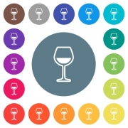 Glass of wine flat white icons on round color backgrounds. 17 background color variations are included. - Glass of wine flat white icons on round color backgrounds
