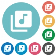 Music library flat white icons on round color backgrounds - Music library flat round icons