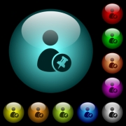 Pin user account icons in color illuminated spherical glass buttons on black background. Can be used to black or dark templates - Pin user account icons in color illuminated glass buttons