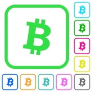 Bitcoin digital cryptocurrency vivid colored flat icons in curved borders on white background - Bitcoin digital cryptocurrency vivid colored flat icons