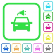 Electric car with connector vivid colored flat icons in curved borders on white background - Electric car with connector vivid colored flat icons