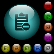 Remove note icons in color illuminated spherical glass buttons on black background. Can be used to black or dark templates - Remove note icons in color illuminated glass buttons