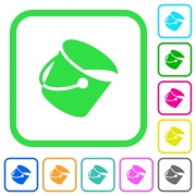 Paint bucket vivid colored flat icons in curved borders on white background - Paint bucket vivid colored flat icons