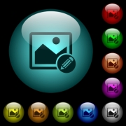 Edit image icons in color illuminated spherical glass buttons on black background. Can be used to black or dark templates - Edit image icons in color illuminated glass buttons
