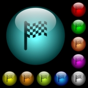Race flag icons in color illuminated spherical glass buttons on black background. Can be used to black or dark templates - Race flag icons in color illuminated glass buttons