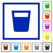 Drink flat color icons in square frames on white background - Drink flat framed icons