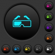 Retro 3d glasses dark push buttons with vivid color icons on dark grey background - Retro 3d glasses dark push buttons with color icons