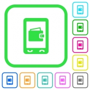 Mobile wallet vivid colored flat icons in curved borders on white background - Mobile wallet vivid colored flat icons