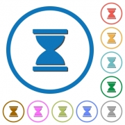 Hourglass flat color vector icons with shadows in round outlines on white background - Hourglass icons with shadows and outlines