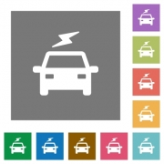 Electric car with flash flat icons on simple color square backgrounds - Electric car with flash square flat icons