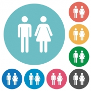 Male and female sign flat white icons on round color backgrounds - Male and female sign flat round icons