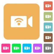 Wireless camera flat icons on rounded square vivid color backgrounds. - Wireless camera rounded square flat icons