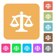 Scale of law flat icons on rounded square vivid color backgrounds. - Scale of law rounded square flat icons