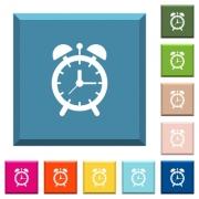 Alarm clock white icons on edged square buttons in various trendy colors - Alarm clock white icons on edged square buttons