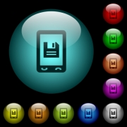 Mobile save data icons in color illuminated spherical glass buttons on black background. Can be used to black or dark templates - Mobile save data icons in color illuminated glass buttons