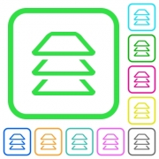 Multiple layers vivid colored flat icons in curved borders on white background - Multiple layers vivid colored flat icons