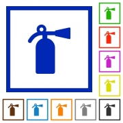 Fire extinguisher flat color icons in square frames on white background - Fire extinguisher flat framed icons